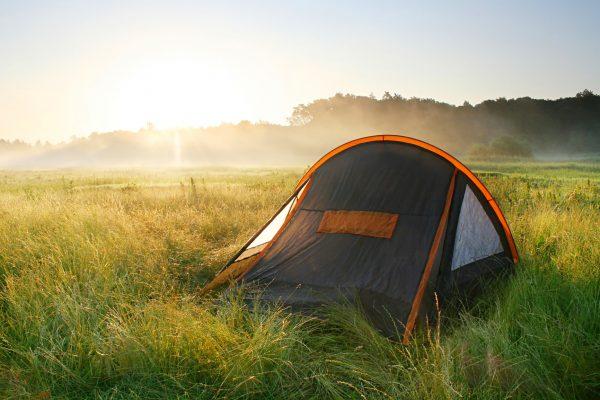 tourist tent  in the sunrise